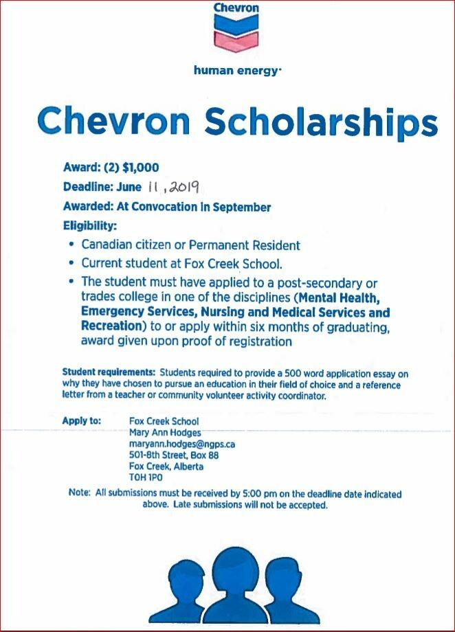 Chevron Scholarship 2019 | Fox Creek School