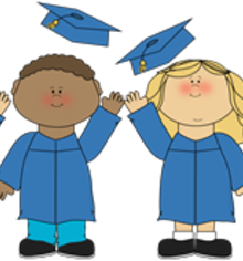 Kids tossing graduation caps clipart