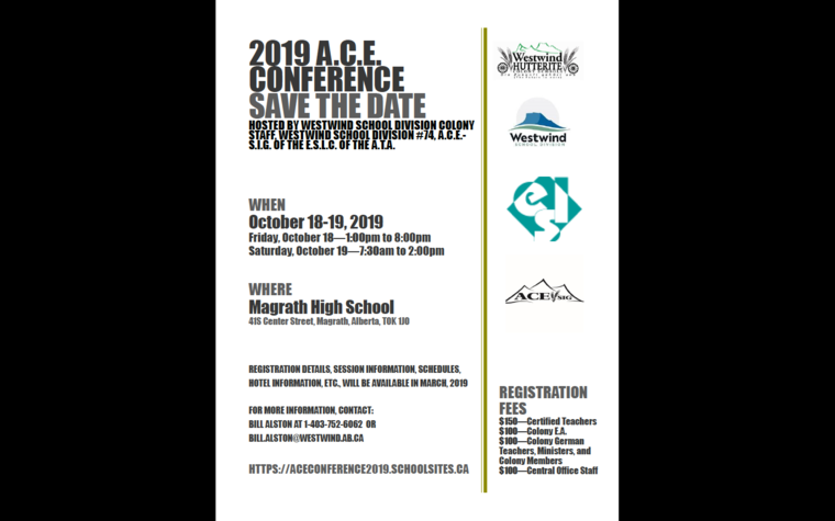 SAVE THE DATE | 2019 Colony Educators' Conference