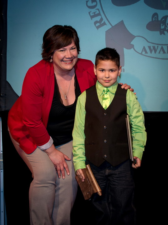 Fort Mcmurray Catholic Schools Trustee Paula Galenzoski and Aiden Black, Anzac Community School  Photo Courtesy of Foto Source Fort McMurray