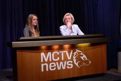 Julie Otte interviewing Rachel Notley on MCTV