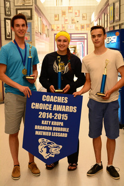 Recipients of  the Coaches Choice Award: Katy Krupa, Brandon Dubrule and Mathieu Lessard