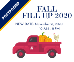 fall fundraiser ad with vintage red truck and pumpkins and fall leaves