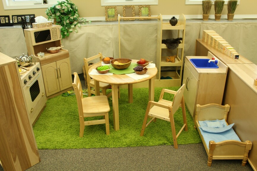 play station with natural wood furniture in Early Education classroom