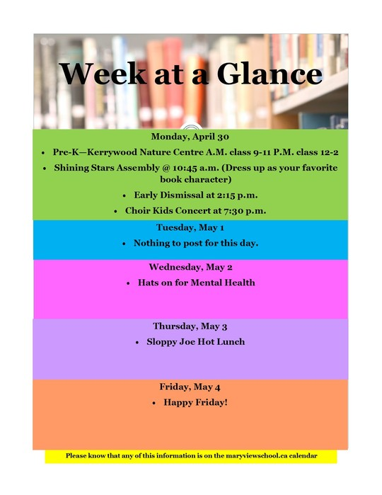 week at a glance posted on april 27th 2018