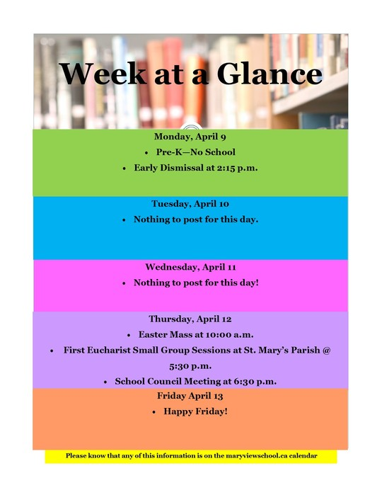 week at a glance 2018