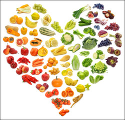 Heart rainbow made of fruits and vegetables graphic