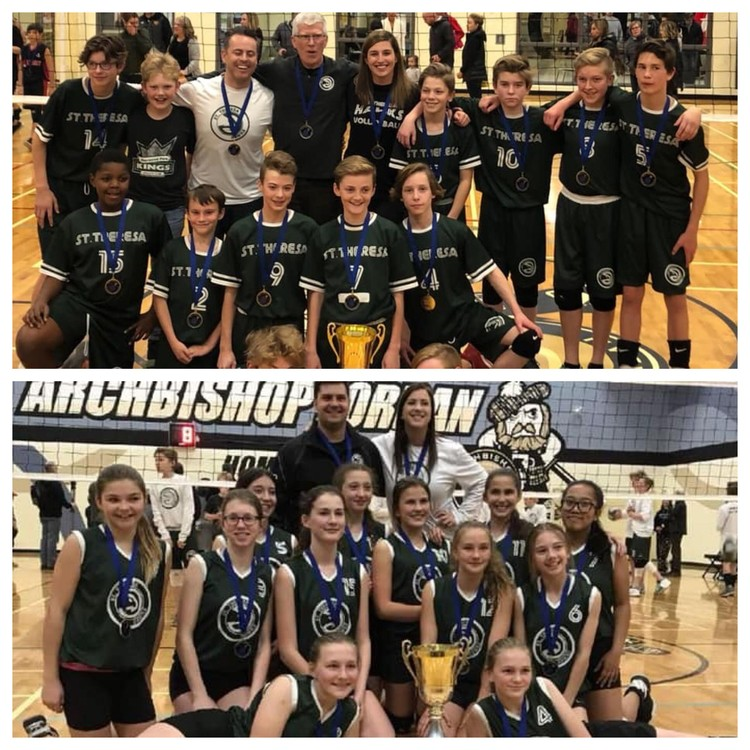 2018 Girls and Boys A Volleyball Champions