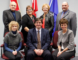 Palliser's Board of Trustees pose for a photo following their swearing-in ceremony Monday, Oct. 28. Back row from left are Vice-chair Don Zech; Chair Colleen Deitz; Trustee Esther Willms; Trustee Robert Strauss. Front row from left are: Trustee Debbie Lat