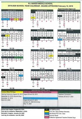 2019-2020 School Year Calendar | R I  Baker Middle School