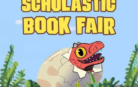 baby dinosaur graphic to advertise book fair