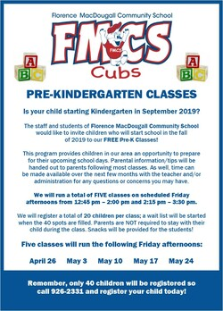 advertisement for pre-kindergarten classes