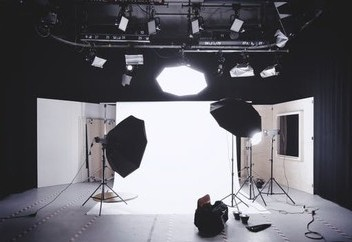 Photography equipment with lights and background
